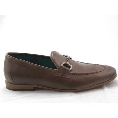 Mocasin with accessory in taupe leather - Available sizes:  38, 47, 48, 49, 51, 52