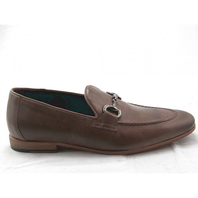 Men's loafer with accessory in taupe leather - Available sizes:  38, 47, 51