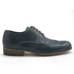 Zapato derby para hombre con cordones y decoraciones a punta de ala en piel de color azul  - Tallas disponibles:  50