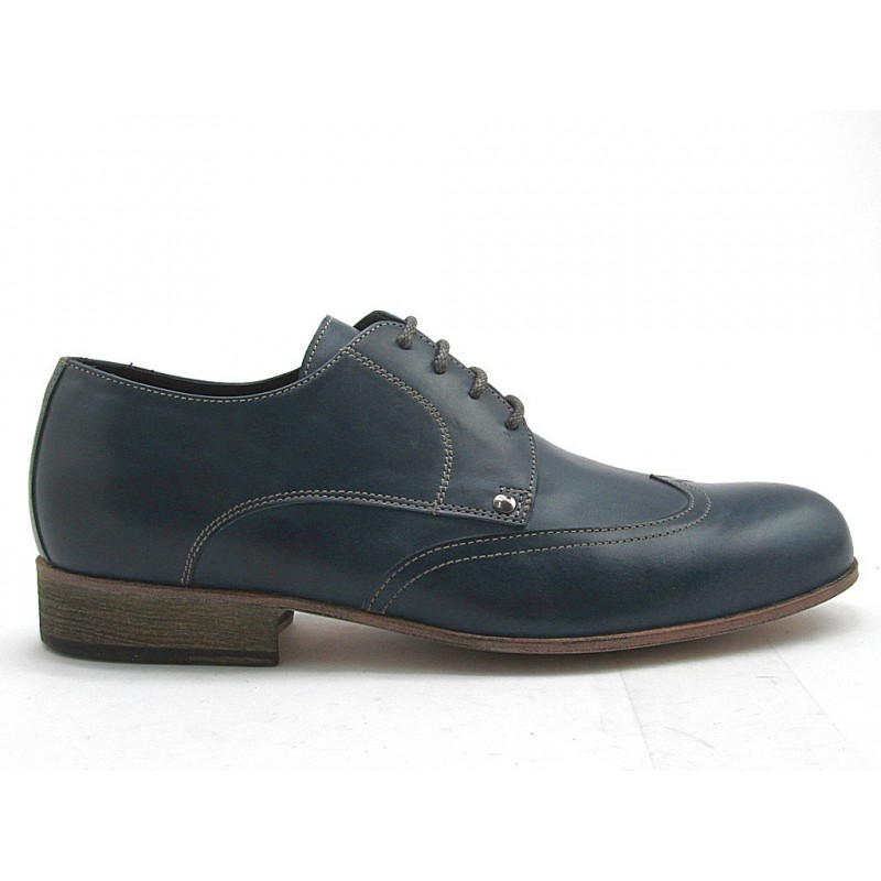 Men's derby shoe with laces and wingtip in blue leather - Available sizes:  50, 52