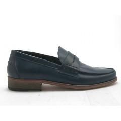Men's mocasin in blue leather - Available sizes:  52