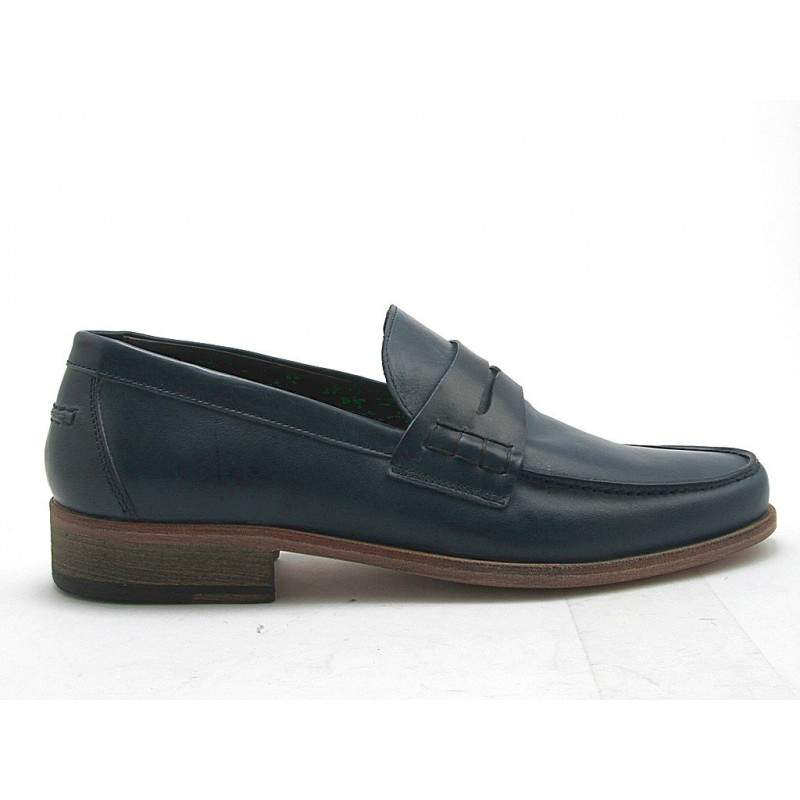 Mocasin in dark blue leather - Available sizes:  38, 52