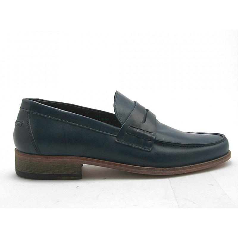 Mocassin pour hommes en cuir bleu - Pointures disponibles:  52