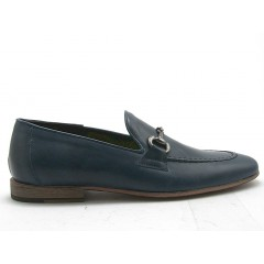 Men's mocassin with accessory in dark blue leather - Available sizes:  38, 52