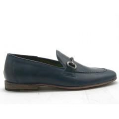 Mocassin pour hommes avec accessoire en cuir bleu - Pointures disponibles:  38, 52