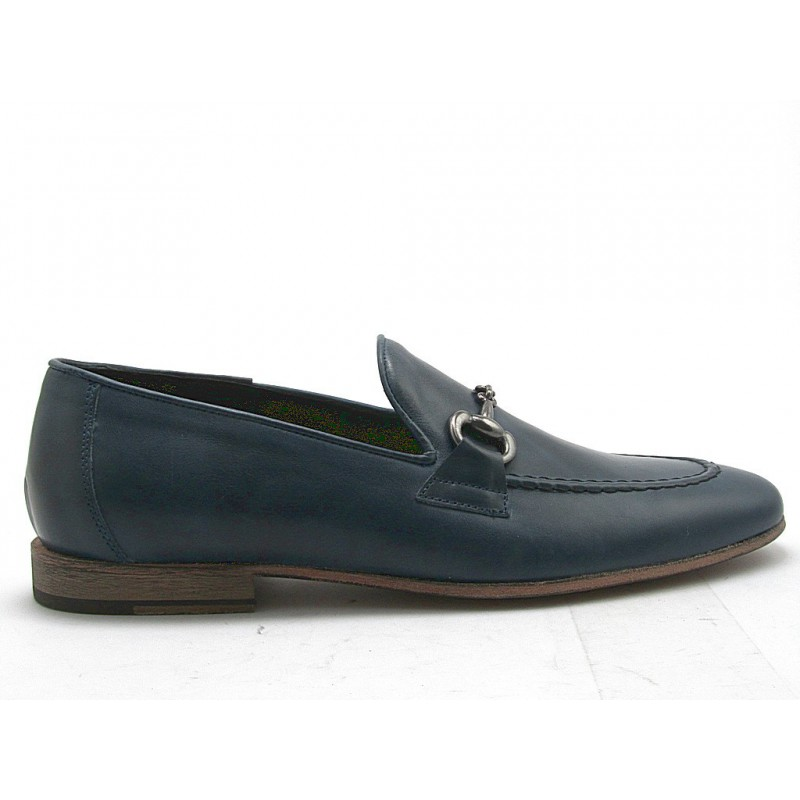 Men's loafer with accessory in dark blue leather - Available sizes:  38