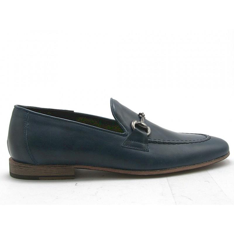 Mocassin pour hommes avec accessoire en cuir bleu - Pointures disponibles:  38