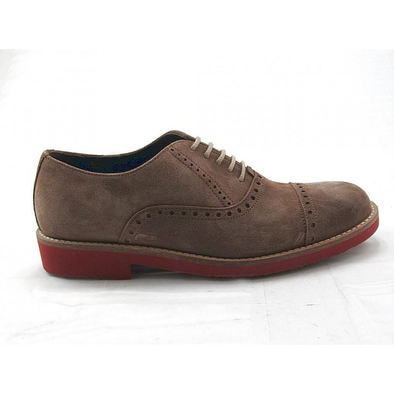 Chaussure richelieu sportif à lacets pour hommes en daim taupe - Pointures disponibles:  47, 52