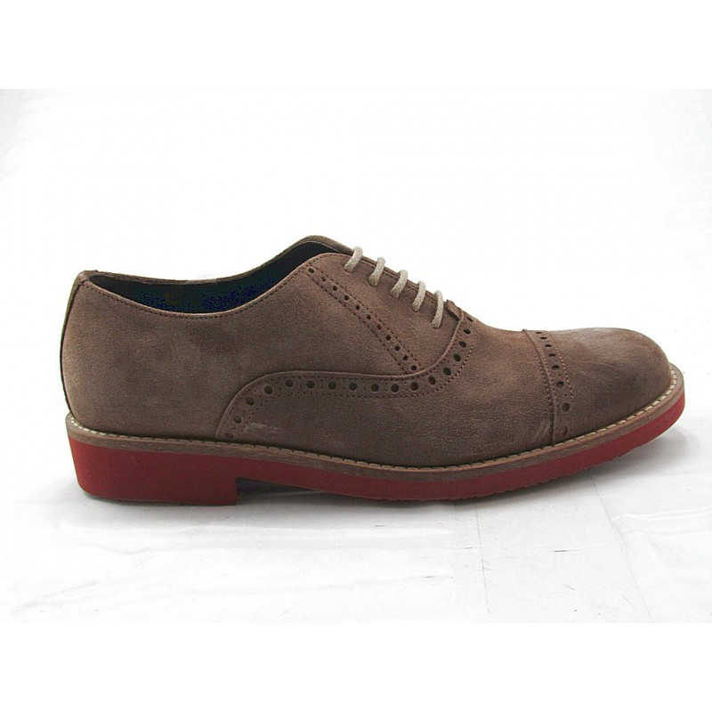 Men's casual laced Oxford shoe in taupe suede - Available sizes:  47, 52