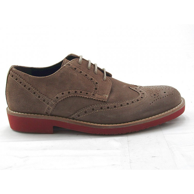 Men's casual laced derby shoe with Brogue pattern in taupe suede - Available sizes:  52