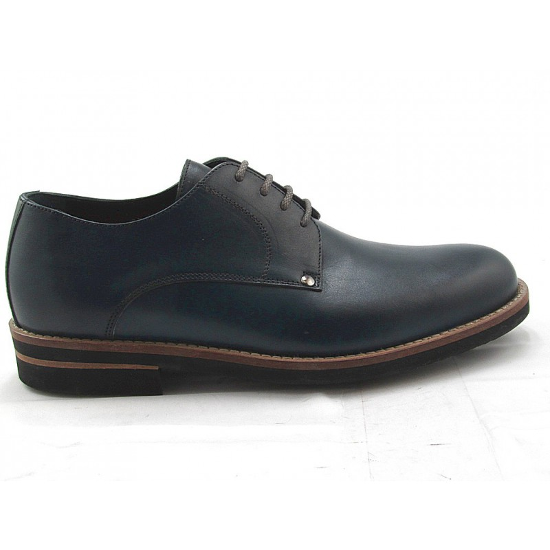 Men's derby shoe with laces in blue smooth leather - Available sizes:  52