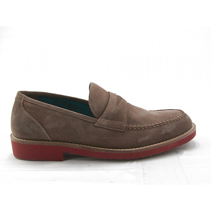 Men's mocassin in taupe suede  - Available sizes:  36, 47