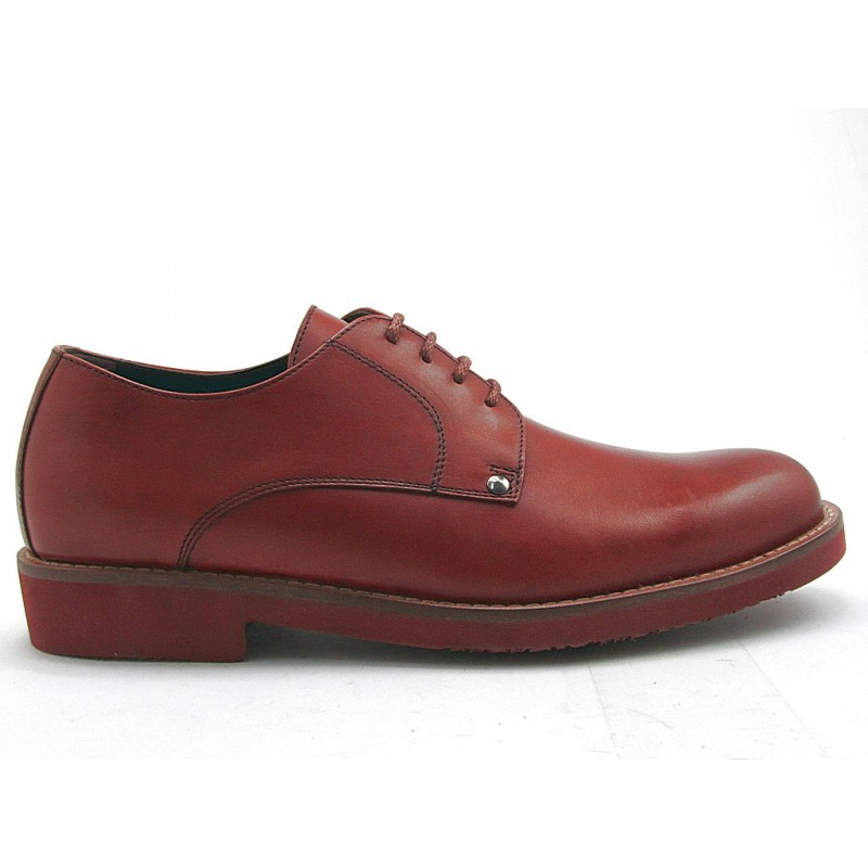 Men's casual derby shoe with laces in tan leather - Available sizes:  51