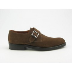 Men's shoe with bucke in tobacco brown suede - Available sizes:  37, 38, 39, 40, 41, 44, 45