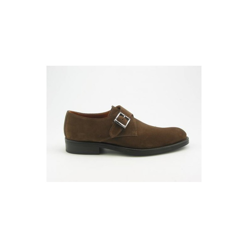 Shoe with buckle in tabac color suede leather, - Available sizes:  37, 38, 39, 40, 41, 44, 45, 47, 48