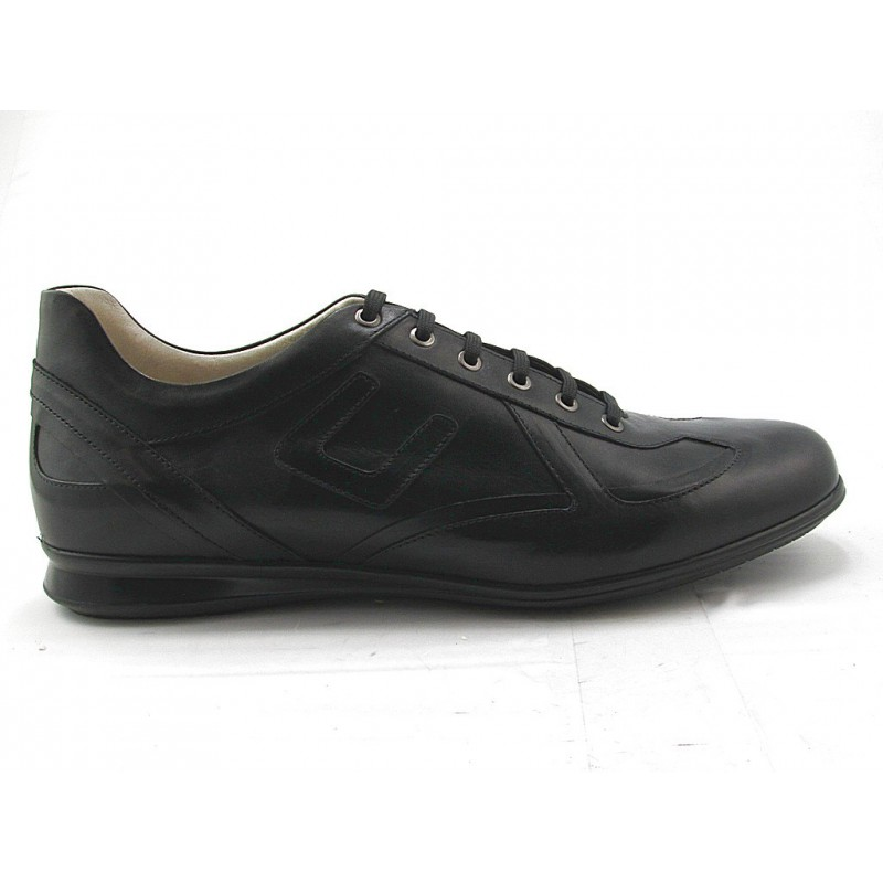 Men's lace-up sportshoe in black leather - Available sizes:  37