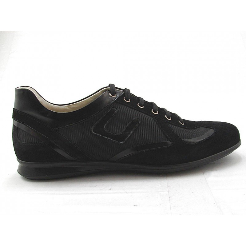 Men's lace-up sportshoe in black suede, leather and fabric - Available sizes:  36, 37
