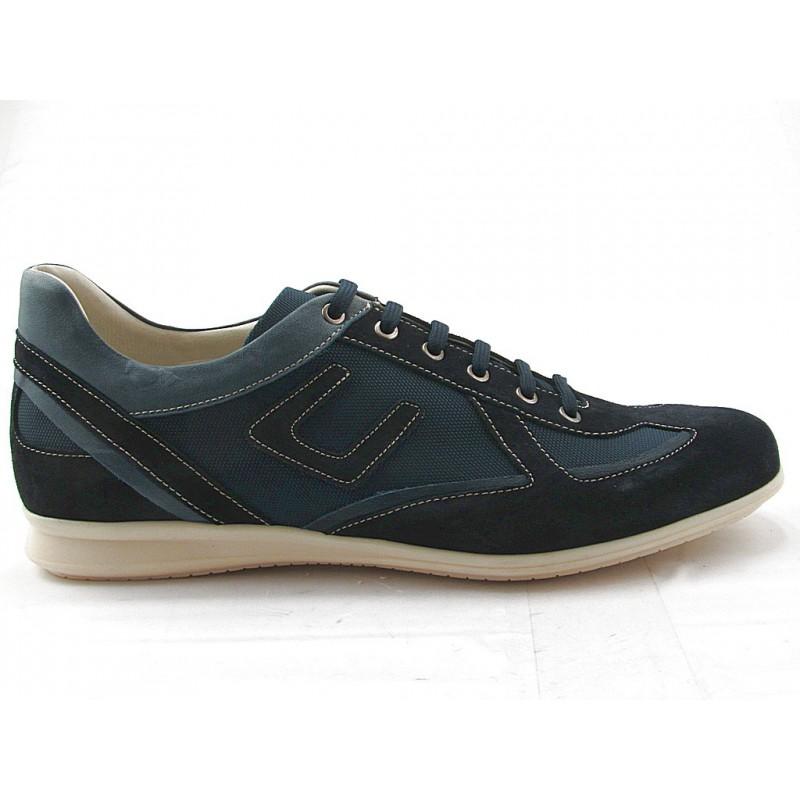 Chaussure à lacets pour hommes en daim, cuir et tissu bleu  - Pointures disponibles:  36, 37