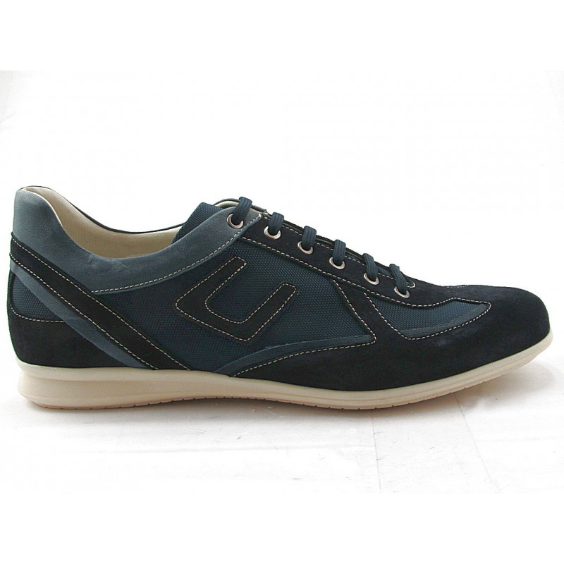 Men's lace-up sportshoe in blue suede, leather and fabric - Available sizes:  36, 37, 38