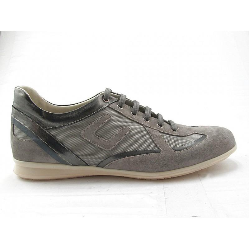 Chaussure à lacets pour hommes en daim beige sable, cuir gris et tissu - Pointures disponibles:  36, 37