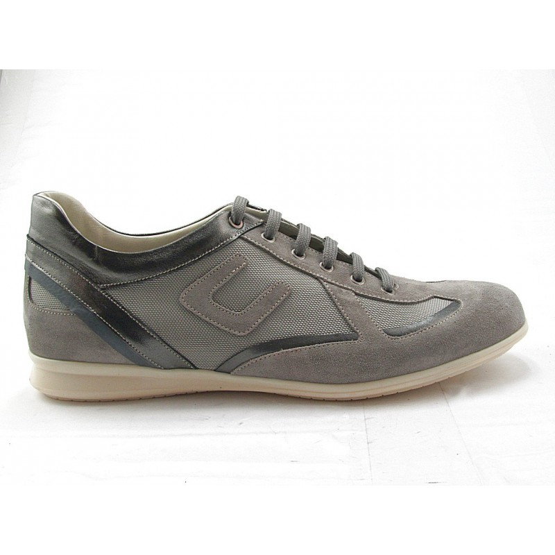 Men's lace-up sportshoe in sand beige suede, gray leather and fabric - Available sizes:  36, 37