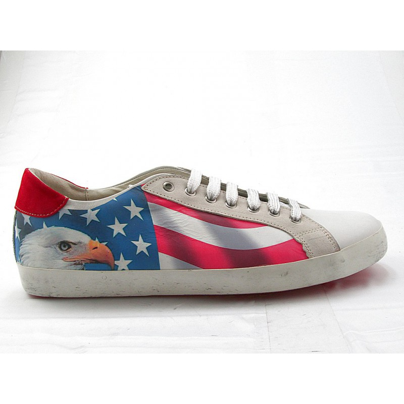 Men's laced casual shoe in white leather with USA flag and eagle print and red suede - Available sizes:  47, 48