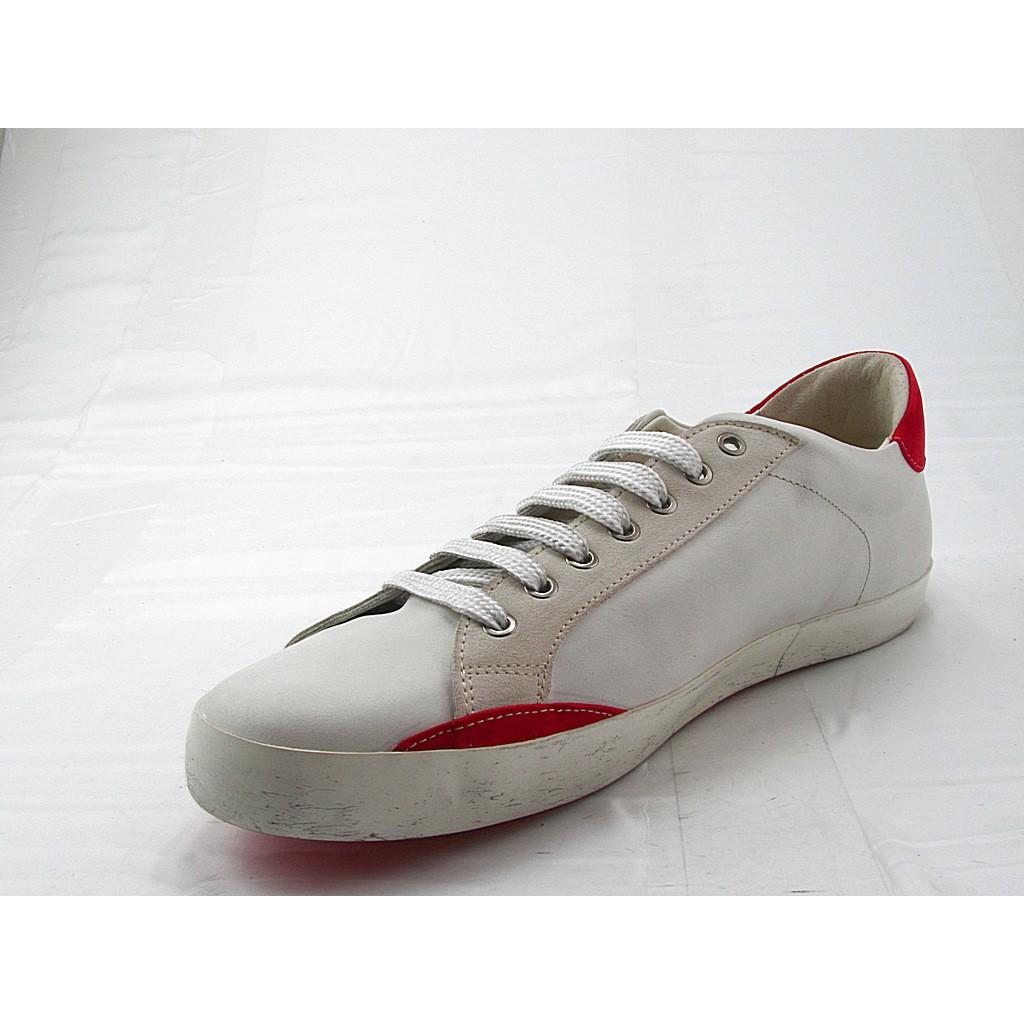 En Lacets Cuir Rouge Blanc Sport Daim fwYTv