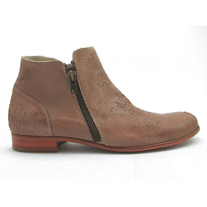 Ankleboot with double zip in sand printed leather - Available sizes:  47, 48, 49, 50