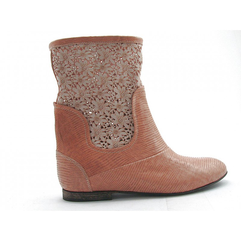 Ankle boot in tan-colored pierced and printed leather heel 1 - Available sizes:  32