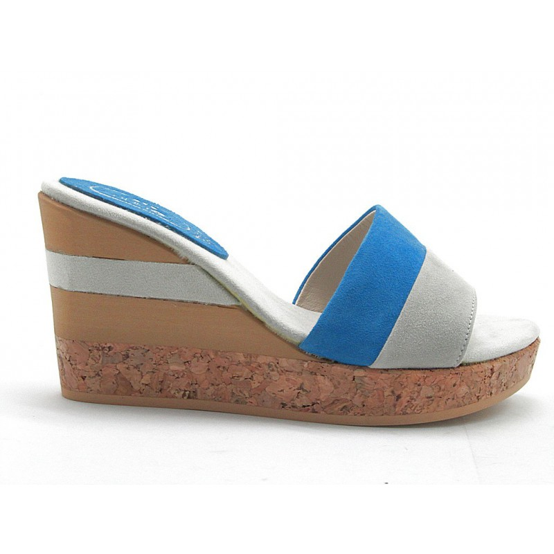 Open sabot with cork wedge in gray and blue suede - Available sizes:  42