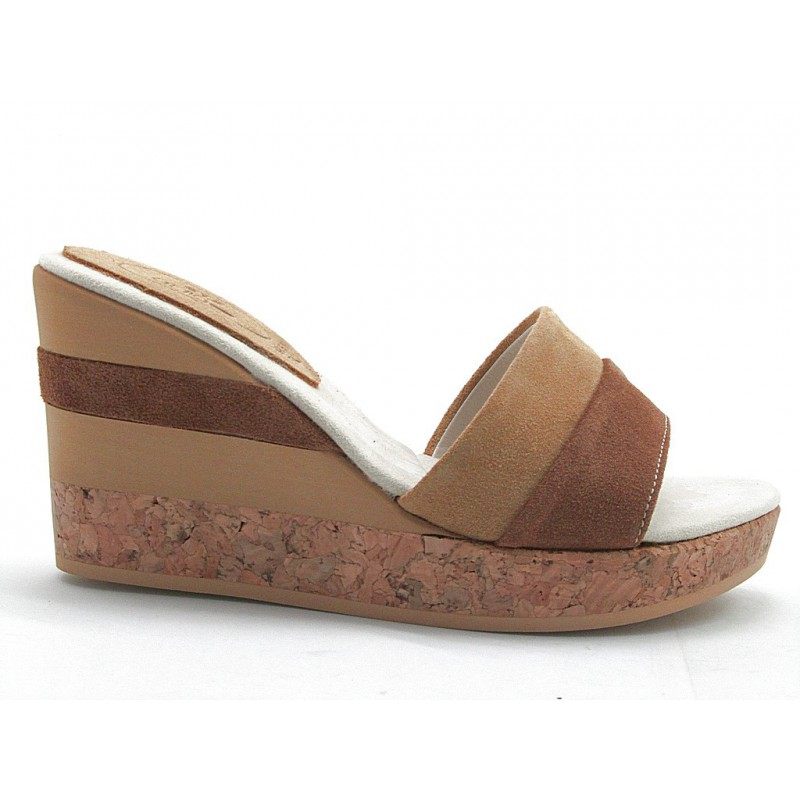 Open sabot with cork wedge in tan and sand suede - Available sizes:  42