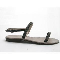 Sandalo con strass in vernice nero tacco 1 - Misure disponibili: 31