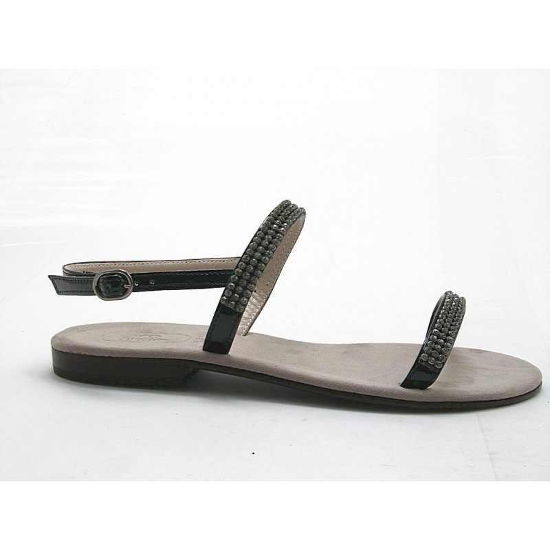 sandale en cuir verni noir avec strass - Pointures disponibles:  31