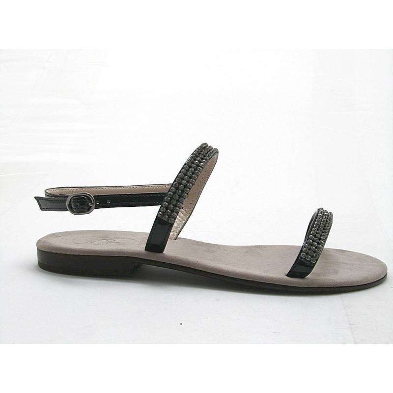 Sandale en cuir verni noir avec strass talon 1 - Pointures disponibles:  31