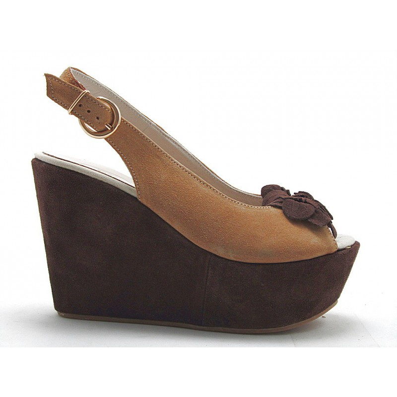 Wedge sandal with flower in sand and brown suede - Available sizes:  42