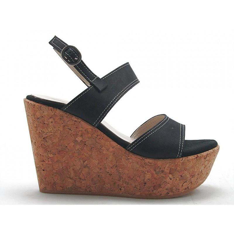 sandale 2 bandes avec un talon compensé en liège en nubuck noir - Pointures disponibles:  42