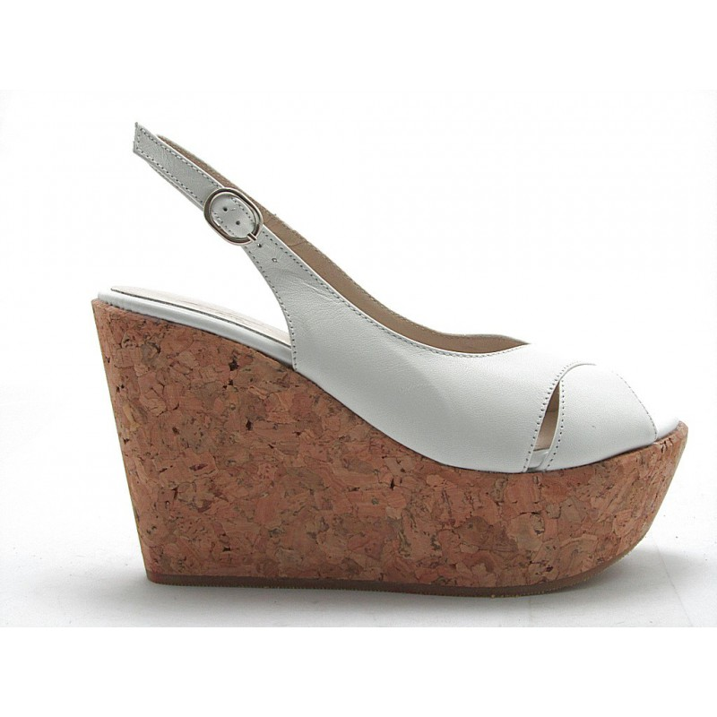 Sandal with cork wedge in white leather - Available sizes:  42