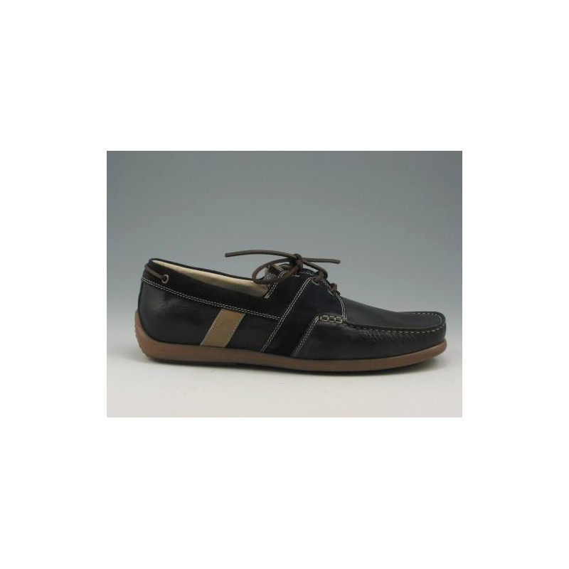 Sportshoe with laces in dark blue leather and suedeleathe - Available sizes:  51