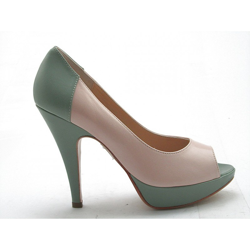 Open toe with platform in powder and green leather - Available sizes:  43