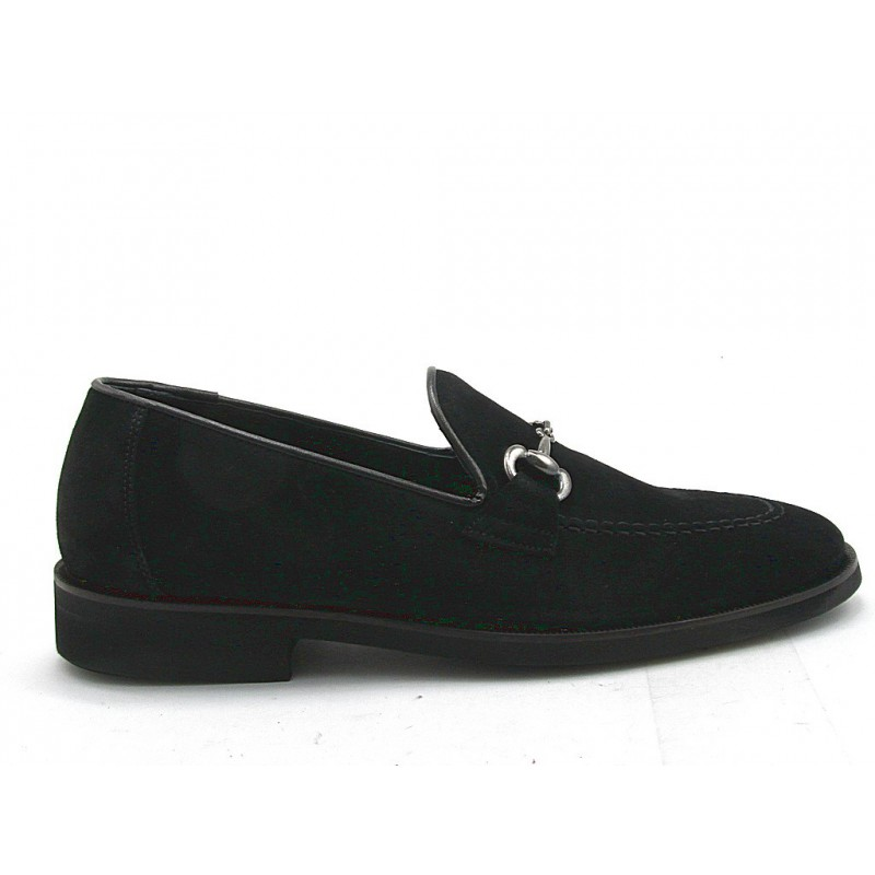 Men's loafer with accessory in black suede - Available sizes:  37, 51
