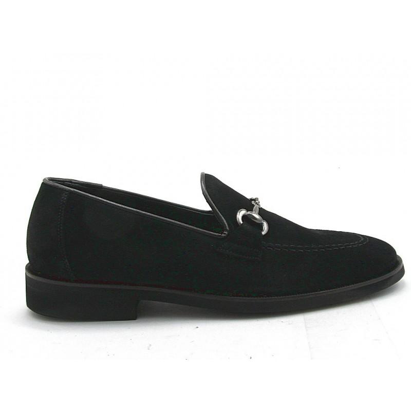 Mocassin pour hommes avec accessoire en daim noir - Pointures disponibles:  37, 51
