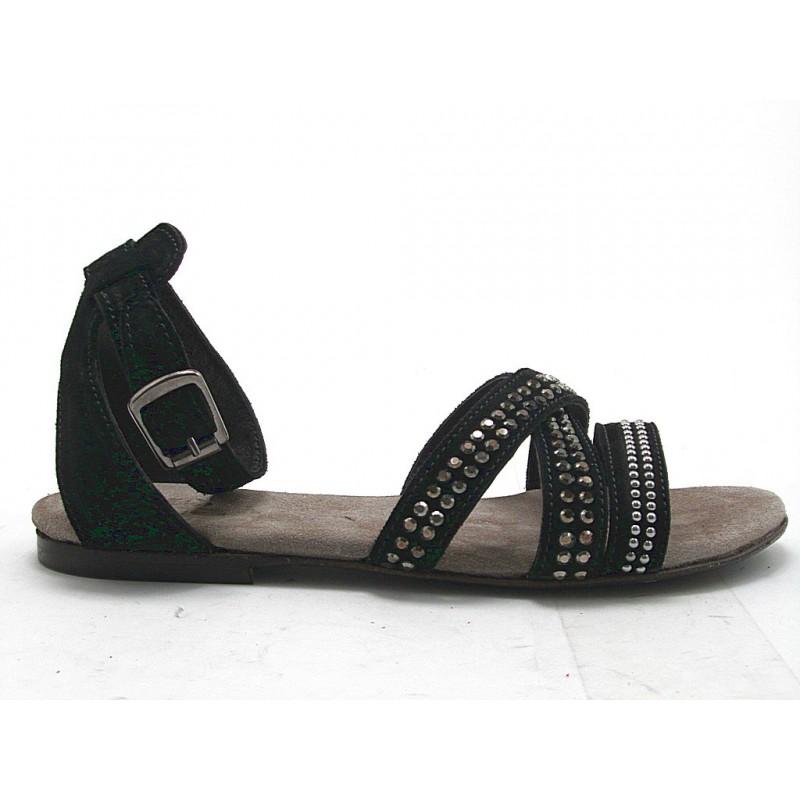Sandale avec courroie et goujons en daim noir talon 1 - Pointures disponibles:  32