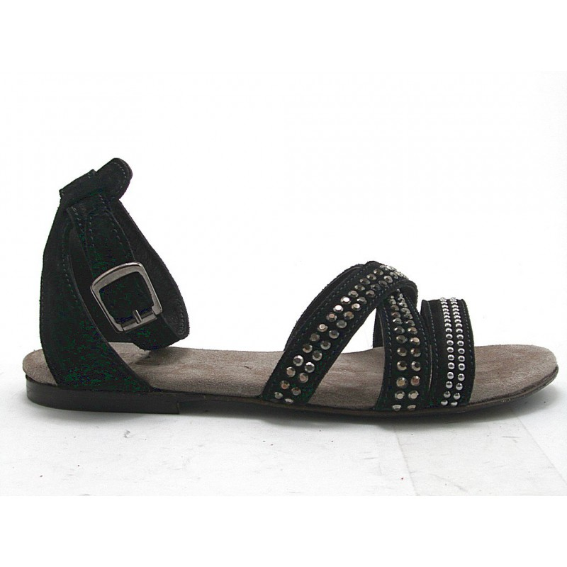 sandale avec des clous en daim noir - Pointures disponibles:  32