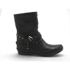 Botin con tachuelas en piel de color negro y marron - Tallas disponibles:  32, 33
