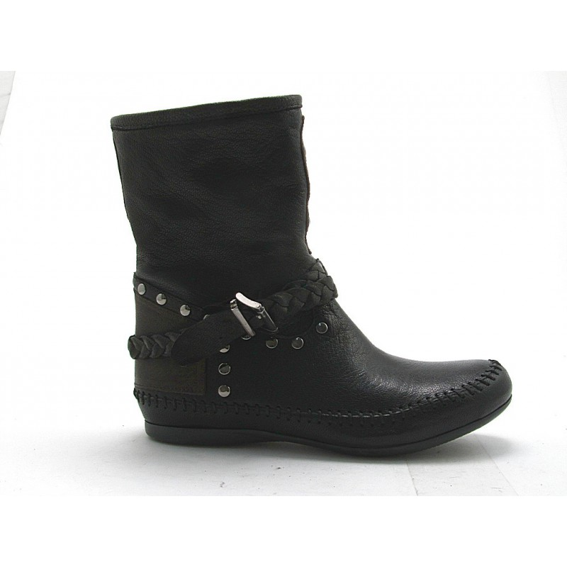 Ankle boot with studs in black and brown leather - Available sizes:  32, 33