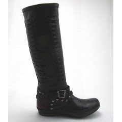 Boot with studs in black and brown leather - Available sizes:  32, 33