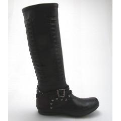 Stiefel mit Nieten und Schnalle aus schwarzem und braunem Leder Keilabsatz 1 - Verfügbare Größen:  32, 33