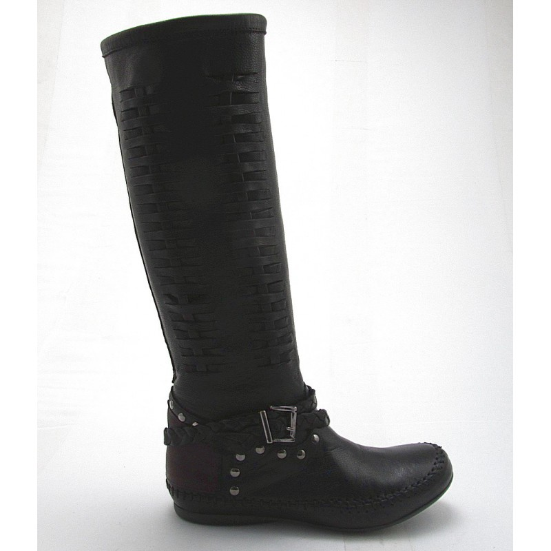 Boot with studs and buckle in black and brown leather wedge heel 1 - Available sizes:  32, 33