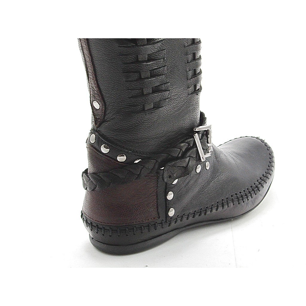 small or large boot with studs in black and brown leather