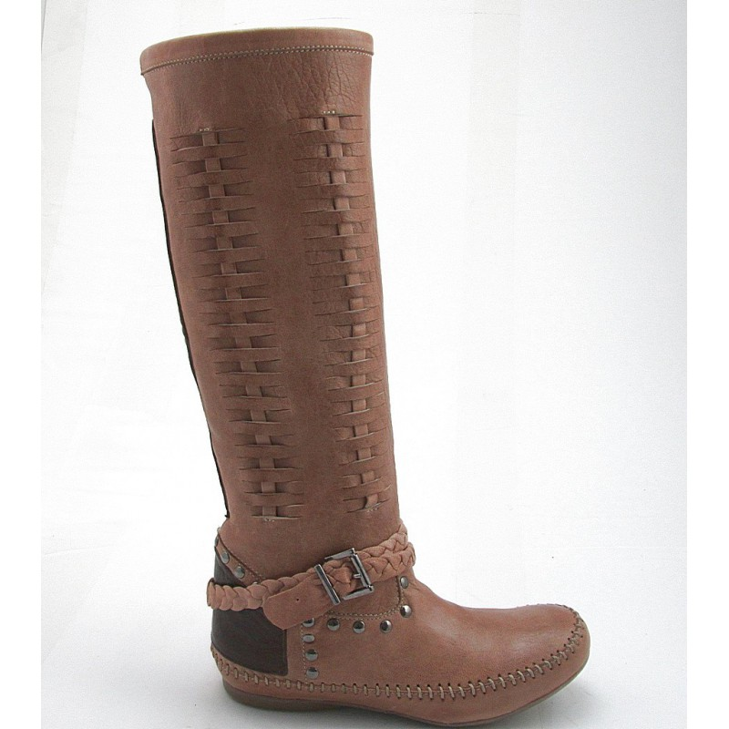Boot with studs in tan and brown leather - Available sizes: 32